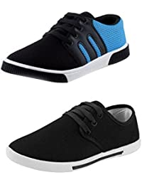 Leewon Men's Canvas Sneakers Combo (Multicolour, 9) - Pack of 2