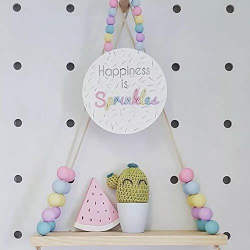 Arvin87lyly - mensola sospesa decorativa per cameretta bambini, in legno, con perline di legno