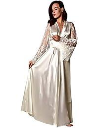 MIRRAY Dressing Gown Womens Long Sleepwear Satin Long Nightdress Solid Long  Lace Sleeve Lingerie Belt Nightgown Woman Kimono… 10f8b2d16