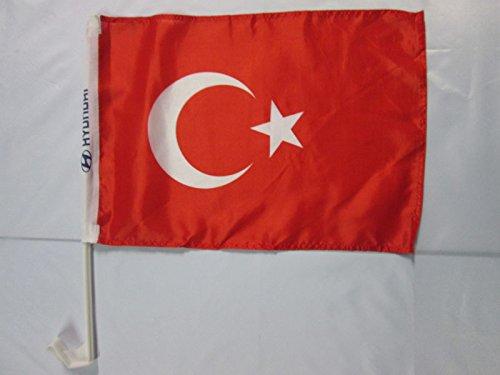 AUTOFAHNE TÜRKEI 45x30cm - TÜRKISCHE AUTOFLAGGE 30 x 45 cm - AZ FLAG Auto flaggen