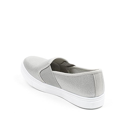 Ideal Shoes - Slip-on nacrées Barbera Argent