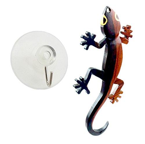 """Gecko todas las maderas exóticas naturales adorno, 4""""x 2"""" x 0.25cm con cinta para colgar."""