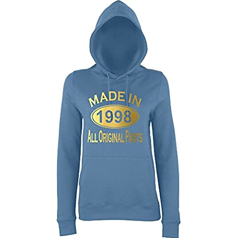 Made In 1998 All Orignal Parts Women Hoodies Gold airforce blue S UK 10 Euro 34 Bust 32
