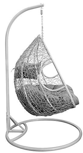 Trendyshop365 XL Polyrattan Hängesessel mit Gestell Hängeliege Gartenliege inklusive Polster und Kissen - 3