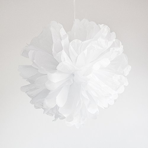 Werbewas 10er Set Pompoms aus Seidenpapier für Blumen / Bälle als Deko für Hochzeiten, Feiern, Partys, Geburtstage, Baby Shower, Taufe und weitere Anlässe - weiß 30cm (Schwarz Pom Weiß Geburtstag Pom)