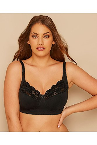 c09e6354f8 Yours Plus Size Womens Non-wired Cotton Bra With Lace Trim - Best Seller ·  frugue Women s Full Cup ...