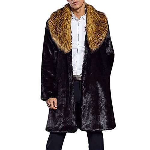 LILICAT Mode Hommes Chaud Épais Col De Fourrure Manteau Veste Fausse Fourrure Parka Outwear Cardigan Automne et Hiver col de Fourrure Faux Fourrure Manteau