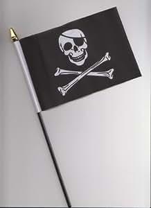 Handflagge, Motiv: Piratenschädel und gekreuzte Knochen, 25 cm