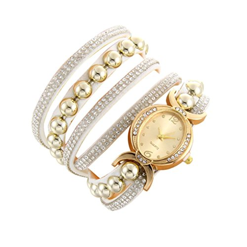 Minshao Mode Multi couches simili cuir Band Strass Perles Chaîne à quartz Bracelet montre-bracelet pour coffret cadeau pour femme blanc