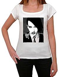 Marilyn Manson flower, tee shirt femme, imprimé célébrité,Blanc, t shirt femme,cadeau