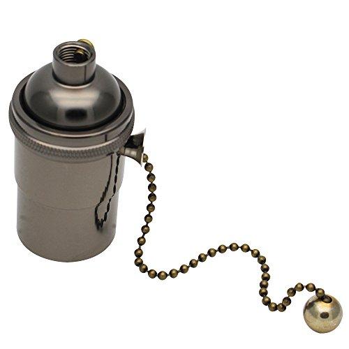 E27 Lampenfassung Kupfer Vintage mit Pull Kette für DIY Edison Pendelleuchte Hängelampe Halter Lampe Zubehör Perlschwarz (Kette Hängelampe Mit)