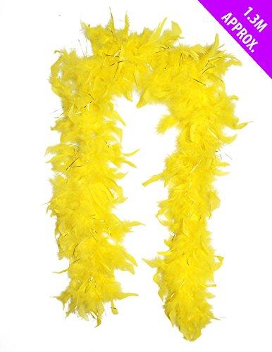 Boa di piume, colore: giallo, decorazione per festa, lunghezza: 1,3 m