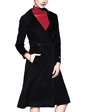 Abrigo de cachemira hecho a mano de espesamiento de invierno de las mujeres Abrigo de traje de doble cara de cuello...