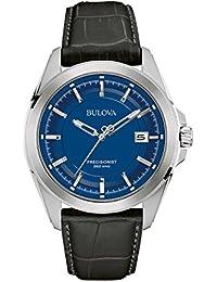 amazon co uk bulova watches bulova men s designer watch leather strap blue dial precisionist wrist watch