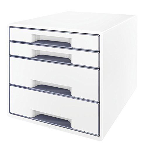 Leitz 52132001 WOW CUBE Schubladenbox, 4 Schubladen, weiß