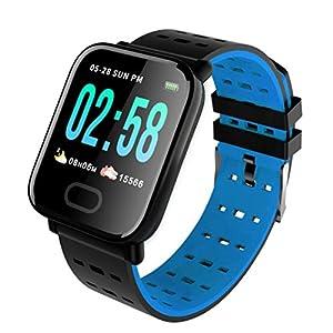 Pulsera inteligente con monitor de actividad física, pantalla de color A6, Bluetooth, monitor de ritmo cardíaco, podómetro, pulsera inteligente para niños, mujeres y hombres azul 1