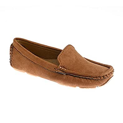 Hopscotch Baby Boys PU Solid Loafers in Khaki Color