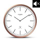 Cander Berlin MNU 3230 Funkwanduhr mit Kupferrahmen und lautlosem Uhrwerk - 30,5 cm 12 Zoll (Ø) - kein nerviges Ticken
