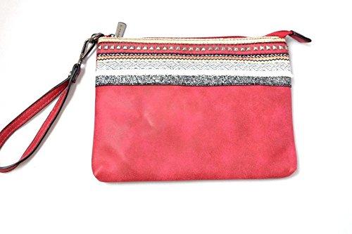 Mandoline Damen Handtasche - Umhängetasche - Clutch Bag aus Kunstleder - mit eingenähtem Zierrand - Schulterriemen verstellbar (Bordeaux)