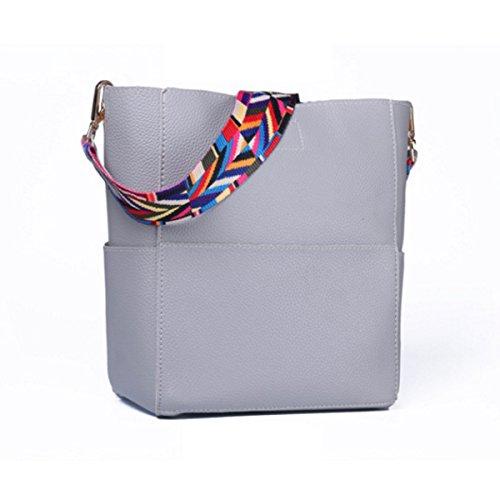 Frauen-Weinlese-Leder-Kurier-Beutel-Handtaschen Leicht Lightgray