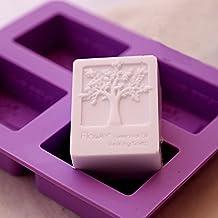 E2o Tech Recipiente de silicona y resina para hacer jabón, 4cavidades con patrón rectangular con árbol de la vida