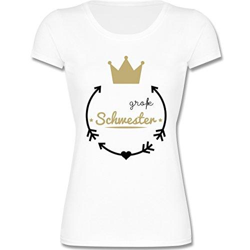 Geschwisterliebe Kind – Große Schwester – Krone – 164 (14-15 Jahre) – Weiß – F288K – Mädchen T-Shirt