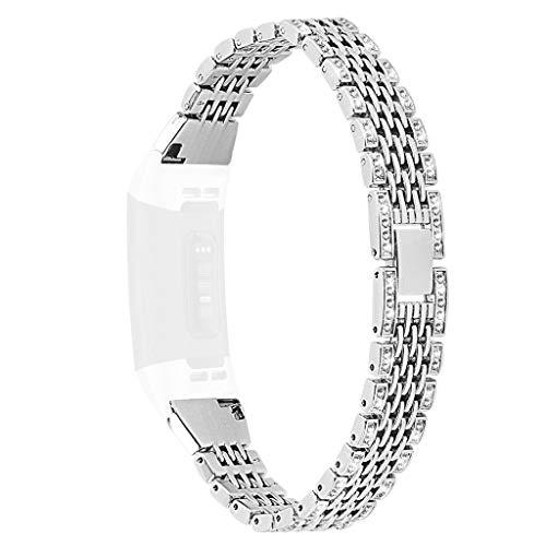Dkings Kompatibel für Fitbit Charge 3 Bänder, Edelstahl Metall Ersatzband Armband für Damen Herren, Bling Bänder Kompatibel für Fitbit Charge 3, Ersatzband mit Strass Armband Zubehör (Silver)