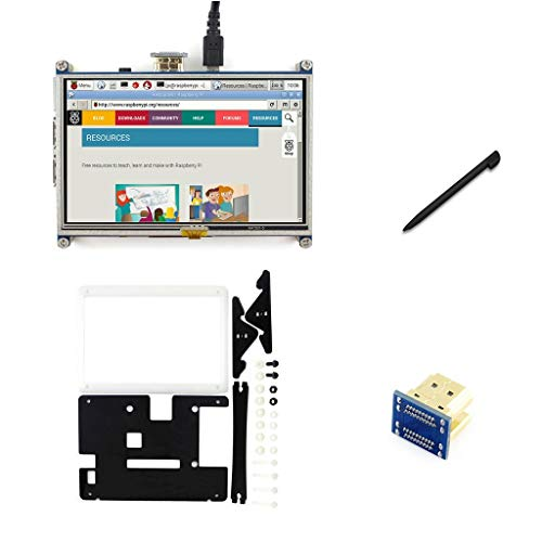Waveshare 5inch LCD Display with Case 800x480 Resistive Touch Screen HDMI  Monitor for Raspberry Pi 3B+ /3B /2B B+ /3A+ /A+ /Zero/Zero W, Support