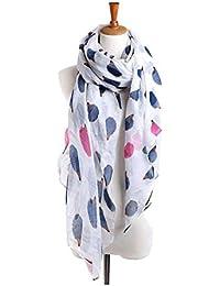 TOOGOO(R) Women Hedgehog Printing Voile Scarf Wraps Shawl Headscarf white