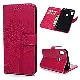 Edauto Motorola Moto One Power / P30 Note Hülle Leder Handyhülle Flip Case Tasche Baum Wallet Kunstleder Bookstyle Brieftasche Schutzhülle Magnetisch Kartenfach Ständer Handytasche Rose rot