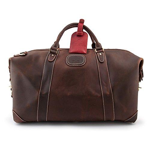 QUADOCTA Senator Exklusive Leder Reisetasche Weekender aus echtem Wildleder - Sporttasche für Reisen am Wochenende in Dunkel Braun - Vintage Schultertasche...