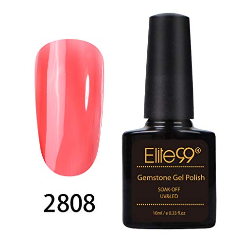 Elite99 Vernis Semi Permanent Vernis Gel gemme ambré brillant UV LED Soakoff, Vernis à Ongle Nail Art Manucure 10ml -08
