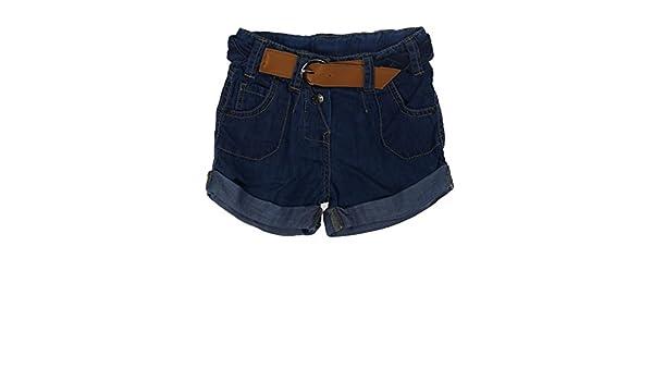 Blau Kanz M/ädchen Jeans-Shorts Indigo goes Red mit G/ürtel