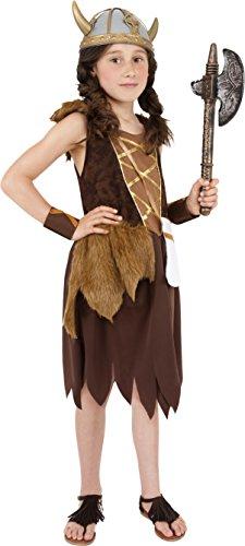 (Smiffys Kinder Wikinger Mädchen Kostüm, Kleid und Armmanschetten, Größe: L, 38650)