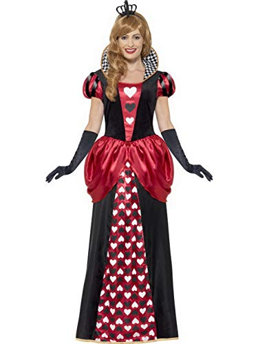 Luxuspiraten - Damen Frauen Herz Königinnen Kostüm Kartenkönigin Queen of Hearts, langes Ballkleid mit Krone, perfekt für Karneval, Fasching und Fastnacht, 2XL, Schwarz