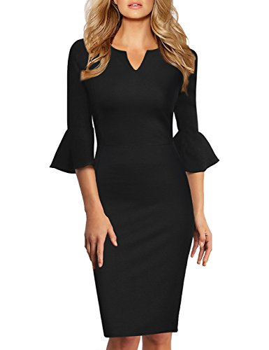 KOJOOIN Damen Etuikleid Business Kleider Bodycon Cocktailkleid Bleistiftkleid Geschäft Figurbetonte Knielang Kleider Langram Schwarz S