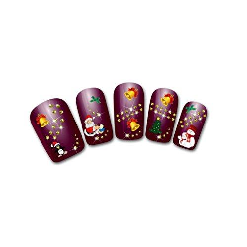 Wassertransfer 3D Weihnachten Maniküre Finger Nail Art Dekoration Voller Aufkleber Decals (Weihnachten Nail Decals)