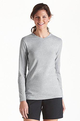 Coolibar Damen V-Hals T-Shirt, Grau, 40/M -