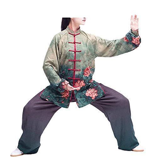 HaiDean Stoffdruck Technologie Tai Chi Anzug Samt Mit Jungen Chic Kung Fu Uniformen Kampfsport Für Damen Milch Seide Und Samt Material Dicker Für Herbst Und Winter (Color : Grün, Size : M)