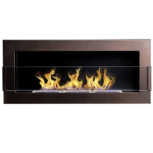 Flame – Wandkamin / Ethanolkamin, Braun Matt mit Oberflächenstruktur (90 x 40 cm)