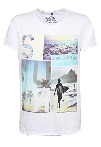 SUBLEVEL Herren T-Shirt mit Surfer Print | Meliertes Basic Print-Shirt aus hochwertigem Jersey Material White
