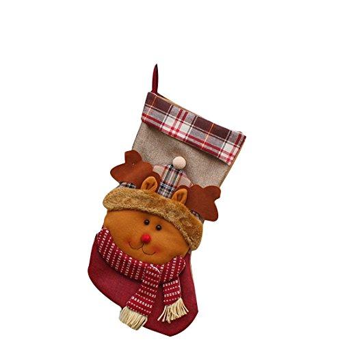 Neujahr Weihnachtsstrümpfe Socken Plaid Weihnachtsmann Süßigkeit Geschenk Beutel Dekoration Elk
