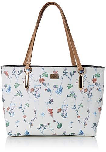 Bessie London Damen Large Floral Print Bag Shopper Schultertasche, Weiß (Tan), 11x35x38 Centimeters