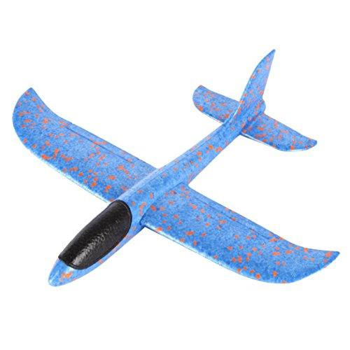 ieger Flugzeug, Handstart Trägheit Schaum Segelflugzeug Werfen Fliegen Modell, für Partys, Kinder, Dekoration, Geschenke, Draußen und andere Ereignisse (Blau) ()