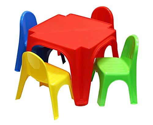 Kinder Tisch und Kinderstühle 4er im Set - bunte Farben - robuste Tisch / Stuhl Kombination für Kleinkinder - Kindermöbel Gartenstühle