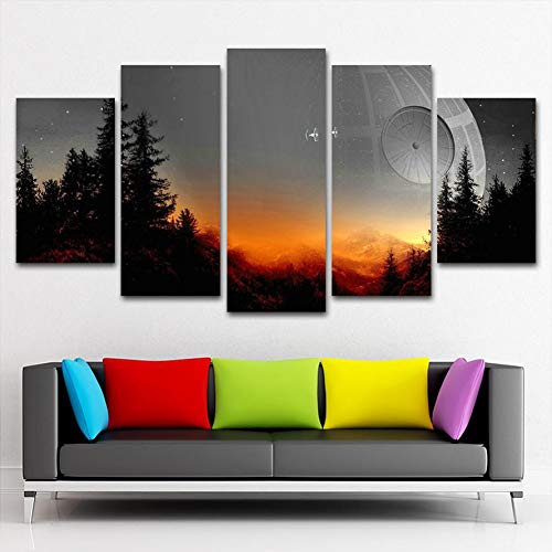 JSDJZSH Modular Canvas Pictures Wall Art Framed 5 Pieces Star Wars Tree Death Star Painting Living Room Prints Movie Poster Home Decor