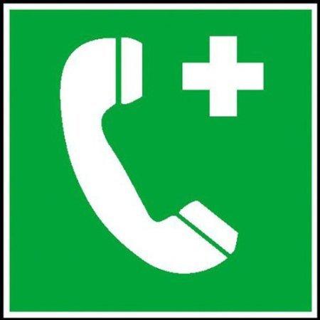 INDIGOS UG - Notruftelefon Rettungsschild, selbstklebende Folie, 15 x15 cm