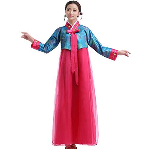 XFentech Damen Traditionelle Kleider - Langarm In Voller Länge Stickerei Dress, Blau-Rose Rot, ()