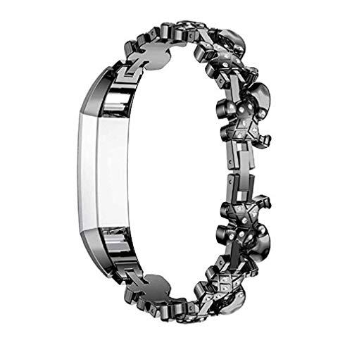Cinturino alla moda, fittingran cinghie compatibili fitbit alta hr ace donne regolabile in metallo inox sostituzione elegante gioielli design dressy bracciale diamond (nero)
