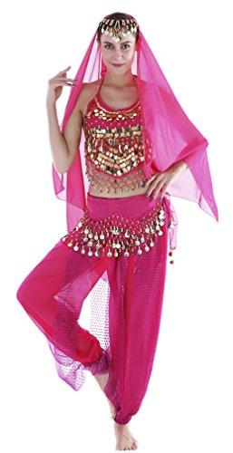 Schmuck Indischer Kostüm - Seawhisper Damen Faschings-Kostüm Indische Bauchtanzkostüme Hose Oberteil Hüfttuch Chiffon Gelbrot